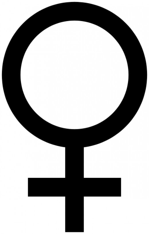 The symbol for Venus is a circle with a cross underneath.  It is the same symbol as that used by biologists to denote the female gender, by feminists, as well as being used in chemistry to denote copper.