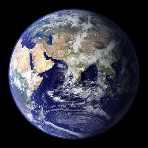 The Earth is our home planet and the only one that we know for certain holds life.  A (mainly) blue sphere covered with swirls of white clouds, it is also the planet in our Solar System that we know most about.
