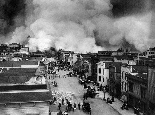 The San Francisco earthquake of 1906 resulted in many fires breaking out, as well as buildings being damaged or flattened. Earthquakes are generally caused by the Earth's tectonic plates shifting.