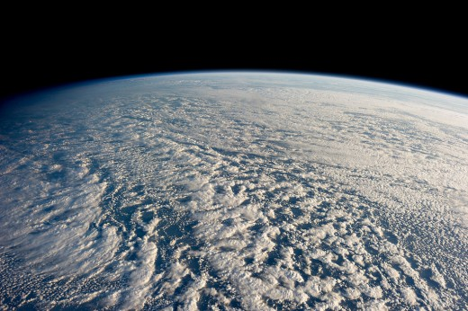 Stratocumulus clouds over the Pacific Ocean. The Earth has been called the Blue Planet, because when viewed from space, the most visible thing are the oceans that cover most of the surface.