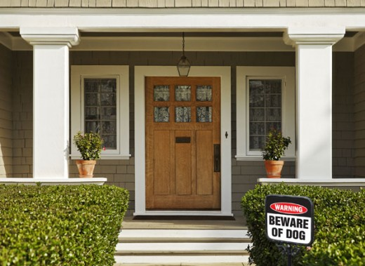 A simple yard sign could possibly deter a burglar.