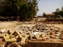 Debris of older classrooms that have been demolished to give way for the construction of new classrooms in Kondele
