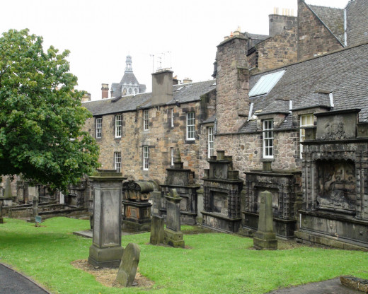 The Kirkyard (or churchyard) where Bobby stood by his master's grave for years....as the Legend says.  It is interesting to notice the larger grave stones (which look like mantles) that are backed up to the residential houses on the right side.