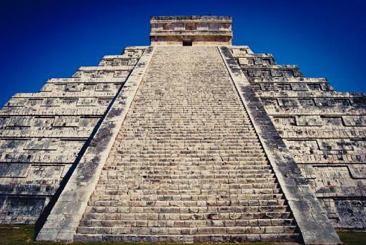 Looking up the steps of El Castillo