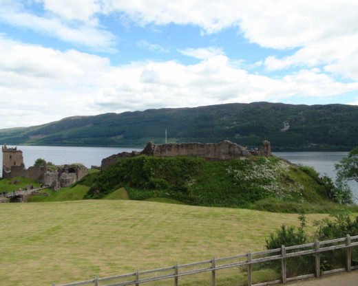 Visitor Center View of Urquhart Castle.  The visitor center had a nice outdoor sitting area for those who did not want to walk to the ruins.