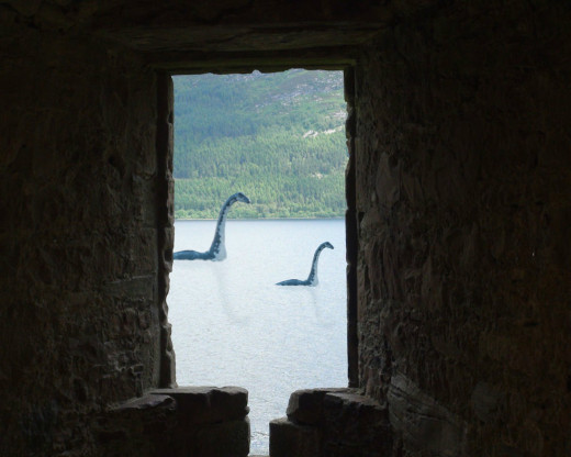 Okay, Okay, this IS a photo of Loch Ness taken from a window in the castle.  It was slightly modified by our friend, and graphic design artist, Scott R. Strub for amusement only!