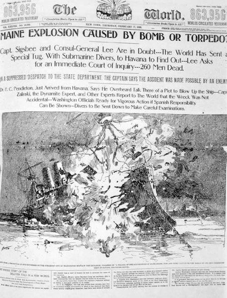 Newspaper depicting the explosion of the USS Maine