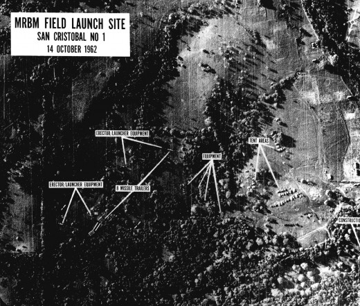 Aerial reconnaissance photo of Soviet nuclear missiles in Cuba.