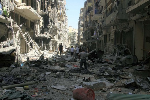 The streets of Aleppo after five years of war.