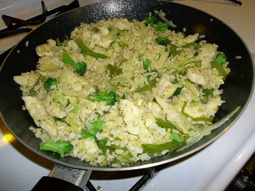 A simple rice stir-fry is cheap and nutritious.