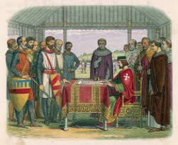 one of the many artistic impressions of the King, church leaders and barons at the signing.