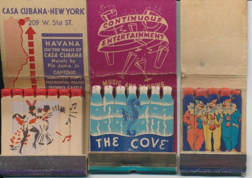 Three vintage feature Matchbooks, Inside saddle area cracking in all  three. Casa Cubana, The Cove and Joy Month at the Butterfield Theaters.