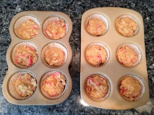 Prepped Hearty Strawberry Banana Muffins Ready to be Baked