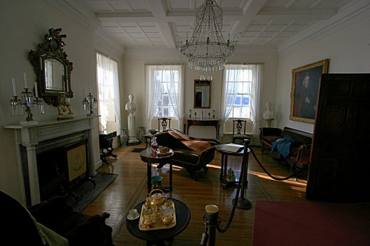 Photograph of the drawing room of Clermont Manor
