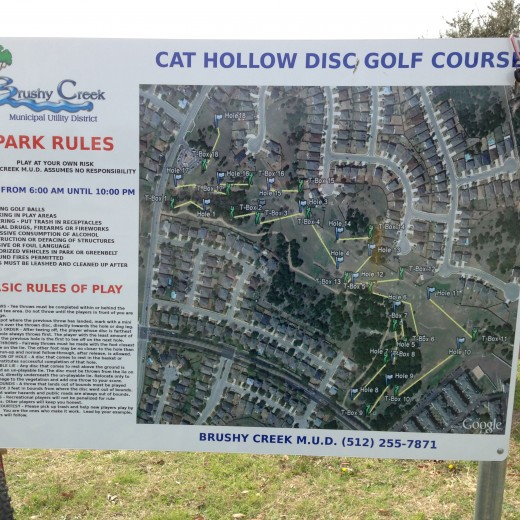 Cat Hollow Park Round Rock TX - Disc Golf Course Map