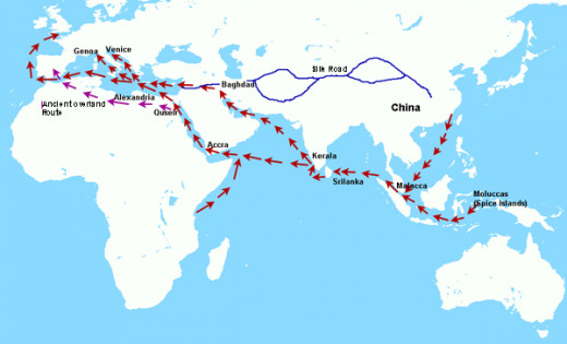 Ancient spice trade route, around 950 BCE