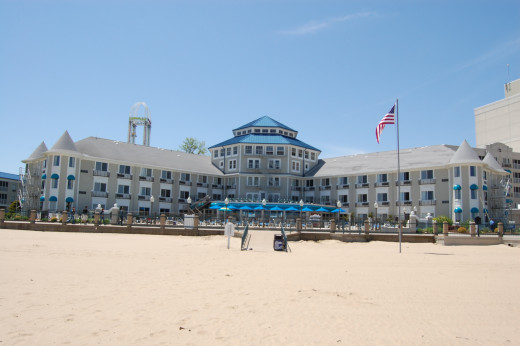 Hotel Breakers, as seen from the beach.