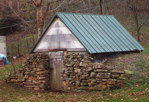 The earth can also be built up against a structure such as this one to provide the benefits of a root cellar.