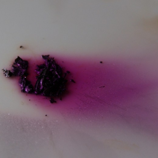 Iodine in its solid form is dark purple, and is most beautiful as it evaporates.