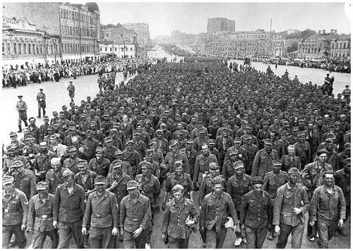 Captured German soldiers from the battle for Stalingrad marching through the streets of Moscow.