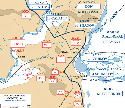 Battle Map of the city of Stalingrad.