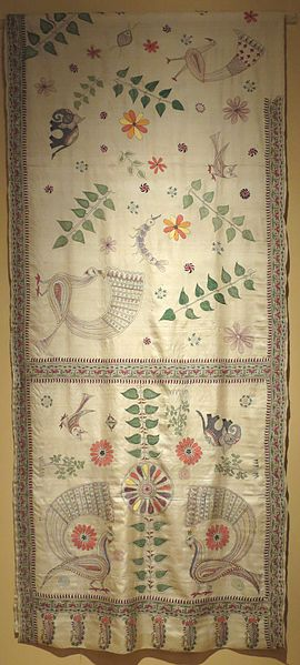 Sari from Bengal India, 20th century, silk, cotton, plain weave and embroidery