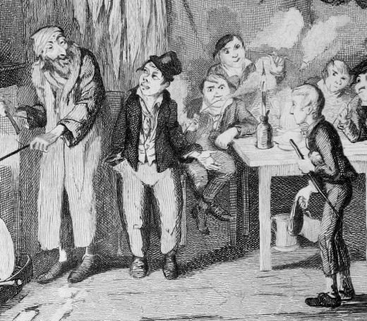 Engraving by Gerorge Cruikshank depcting Fagans, Oliver and a group of pickpockets.