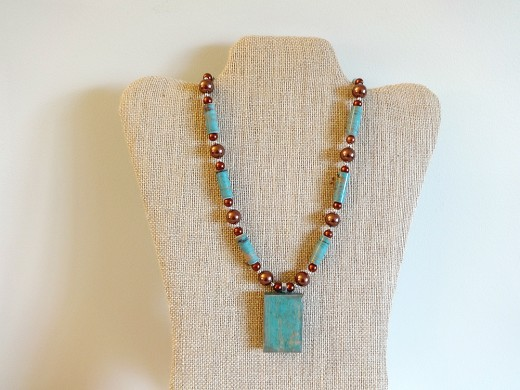 Teal and Copper Mixed Media Necklace