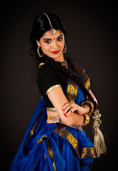Kathak exponent  or dance choreographer in Indian Sari