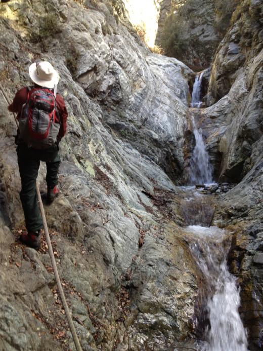 climbing up a canyon