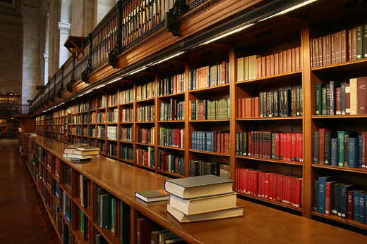 A collection of books at a beautiful library.