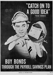 Yogi Berra in an ad for government bonds from the 1950s. When was the last time baseball had social relevance?
