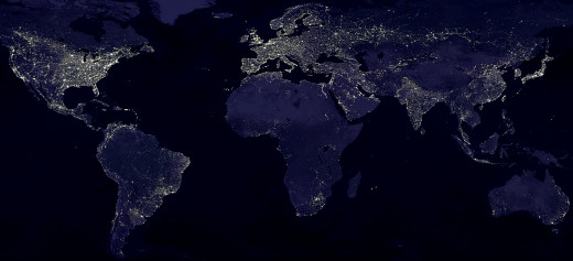 By NASA (File:Earthlights_dmsp.jpg) [Public domain or Public domain], via Wikimedia Commons
