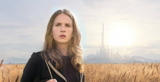 Actress Britt Robertson appears in a field after touching the fateful pin.