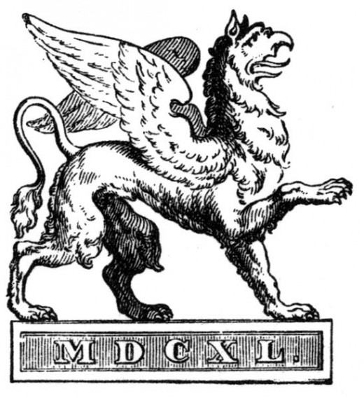 The logo of Cottasche Verlagsbuchhandlung, Stuttgart. It shows a griffin and the year 1640 in Roman numbers.