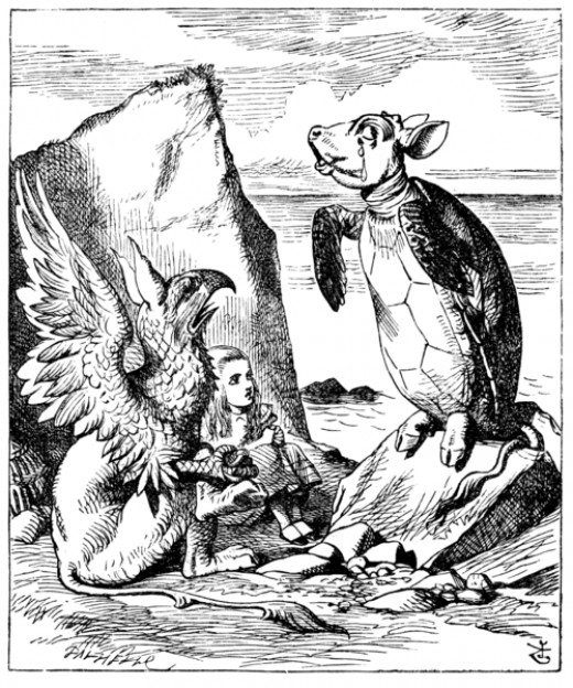 "Alice sitting between Gryphon and Mock turtle. John Tenniel`s original (1865) illustration for Lewis Carroll`s ""Alice in Wonderland""."