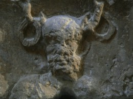Stone engraving of Cernunnos, Lord of the Animals. The wolf was sacred to the Celtic peoples.