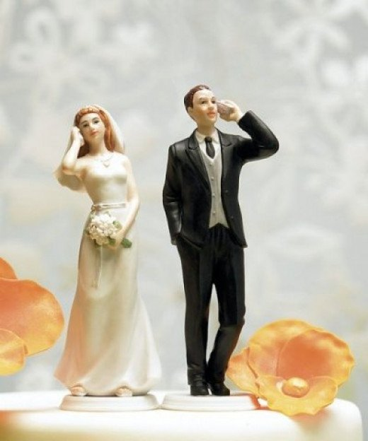 Cell Phone Fanatic Bride and Groom Cake Topper