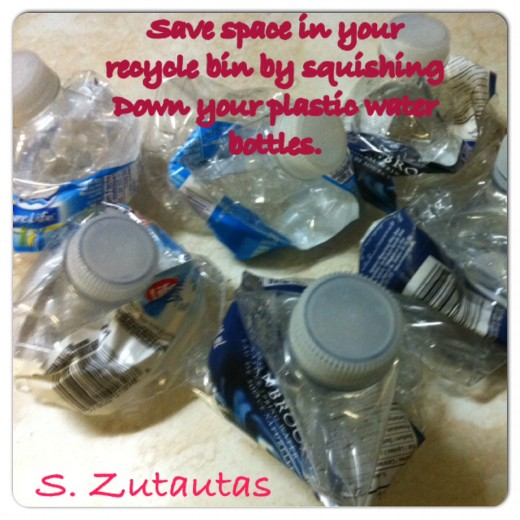 Save space in your recycle box by compacting your plastic bottles and cans