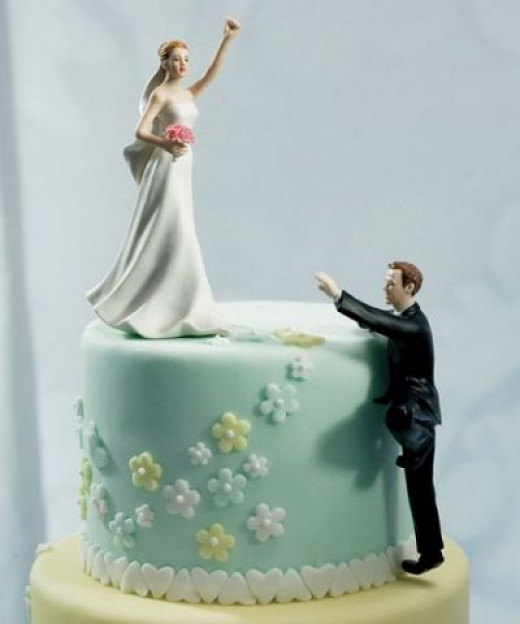 Climbing Groom and Victorious Bride Mix & Match Cake Topper