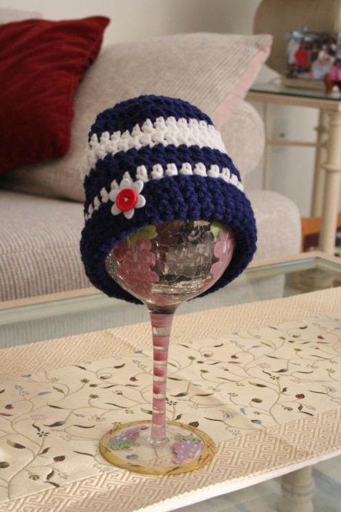Blue and white crochet baby cap