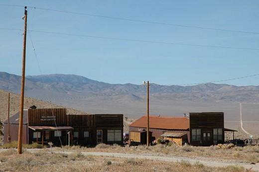 Town buildings in Gold Point, Nevada.