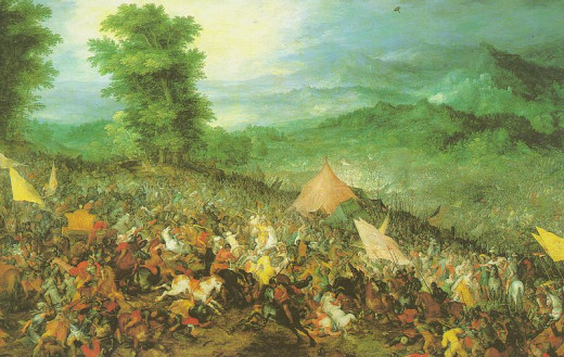 Alexander the Great and the Battle of Arbela. Painting: The Battle of Arbela by Jan Brueghel the Elder 1602