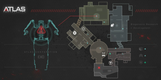 This map appears on the screen before starting a game in Outbreak. It shows players the exact location of the Exo Suit.