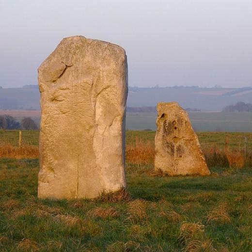 Stone 15b, a tall 'masculine' pillar in the Kennet Avenue, near Avebury. Beyond it is its 'feminine' companion, stone 15a.