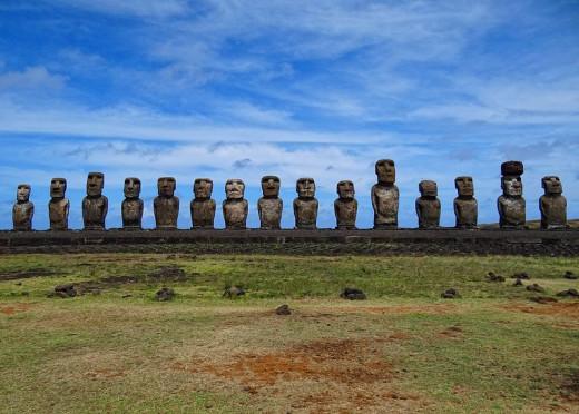 All the fifteen standing moai of Ahu Tongariki.