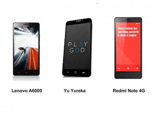 Lenovo A6000 vs Micromax Yu Yureka vs Xiaomi Redmi Note 4G : a great battle.