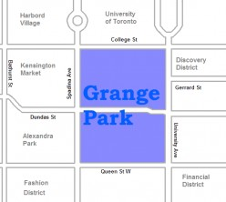 Map location of Toronto's Grange Park neighbourhood