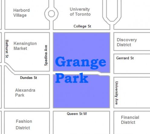 Map location of Toronto's Grange Park neighbourhood
