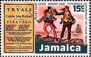 A 1971 Jamaican postage stamp honoring Anne Bonny and Mary Read